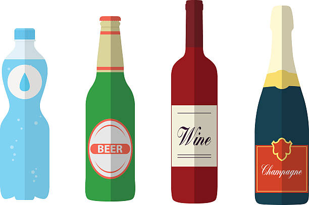 stockillustraties, clipart, cartoons en iconen met flat bottles - bierfles