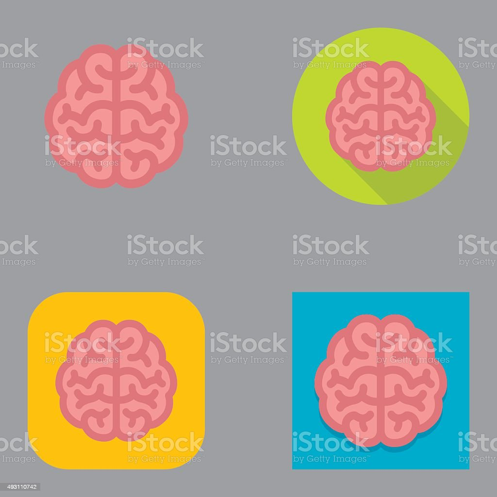 Flat Brain icons | Kalaful series vektör sanat illüstrasyonu