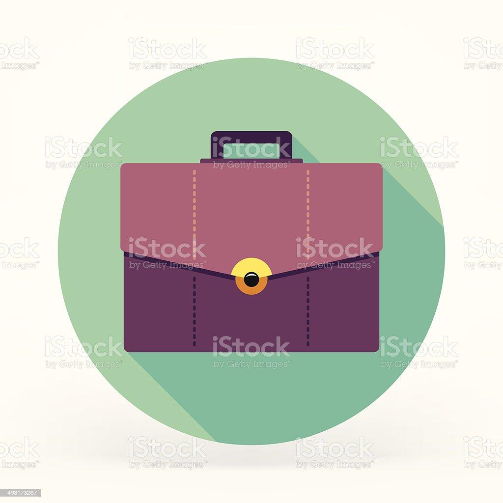 Flat Briefcase Icon vector art illustration