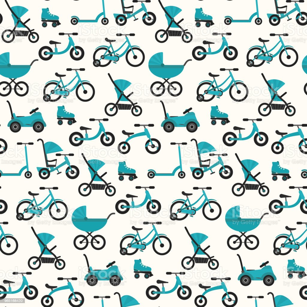 Flat bright blue baby transport pattern royalty-free flat bright blue baby transport pattern stock vector art & more images of baby carriage