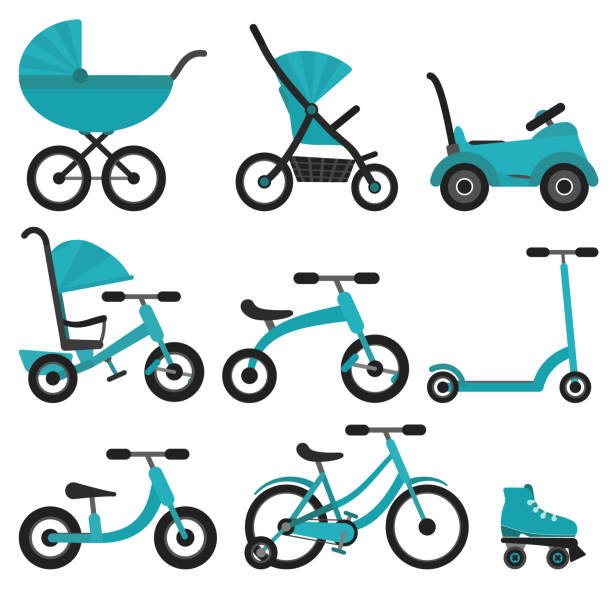 Flat bright blue baby transport set vector art illustration