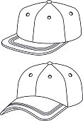 Flat brim and curved brim cap and hat outlines.