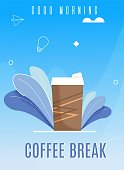 Flat Brown Disposable Glass with Hot Coffee Drink. Banner Vector Illustration Good Morning Coffee Break. Paper Cup for Drinking Coffee, Tea on Way to Work. Energy Drink During Lunch Time