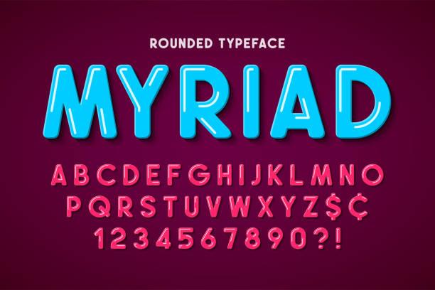 Flat bubble comical font design, colorful alphabet, typeface vector art illustration