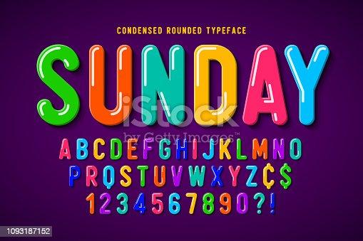 Flat bubble comical font design, colorful alphabet, typeface. Color Swatches control