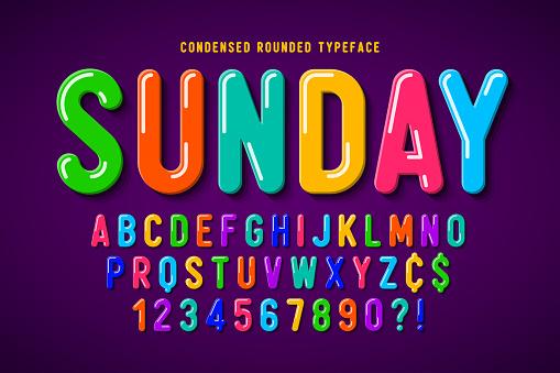 Flat bubble comical font design, colorful alphabet