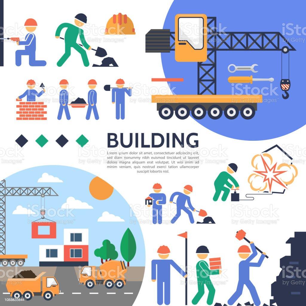Appartement immeuble industrie modèle - Illustration vectorielle