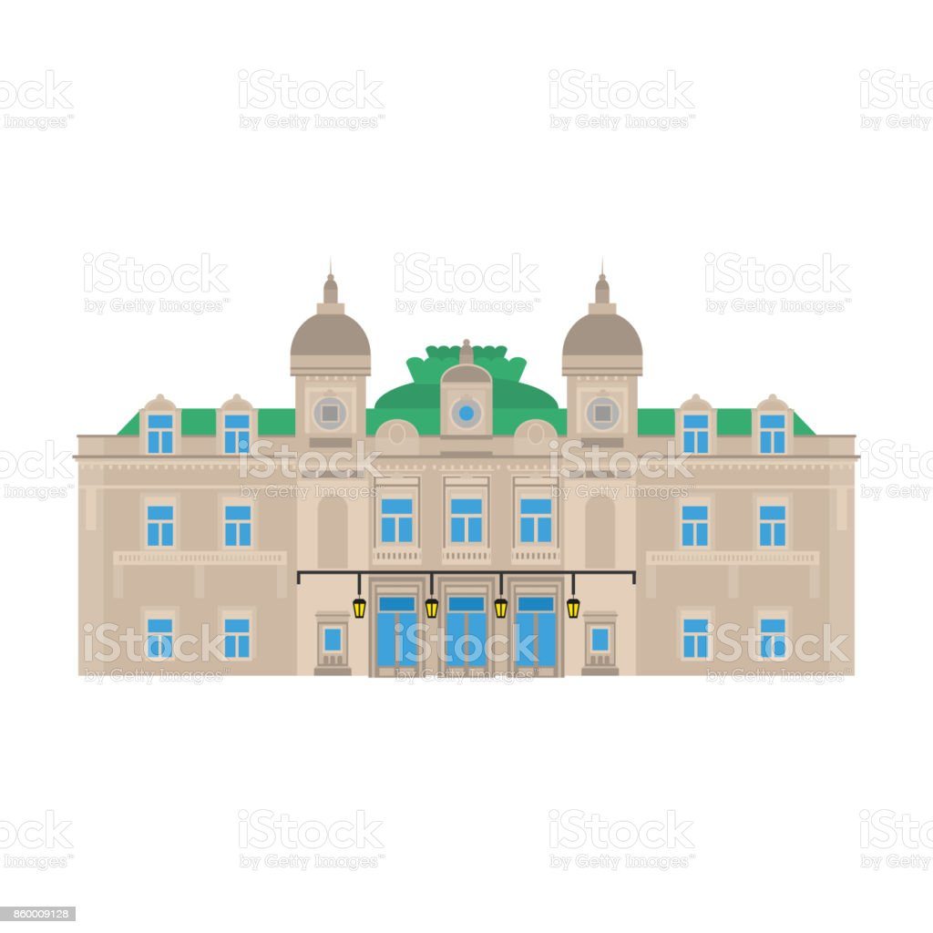 Flat building of Monaco country, travel icon landmark in Monte Carlo. City architecture. World travel vacation sightseeing European. The grand casino. vector art illustration