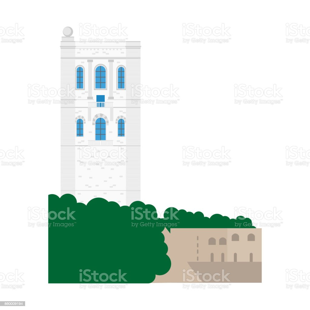 Flat building of Monaco country, travel icon landmark in Monte Carlo. City architecture. World travel vacation sightseeing European. Side of Oceanographic Institute museum. vector art illustration