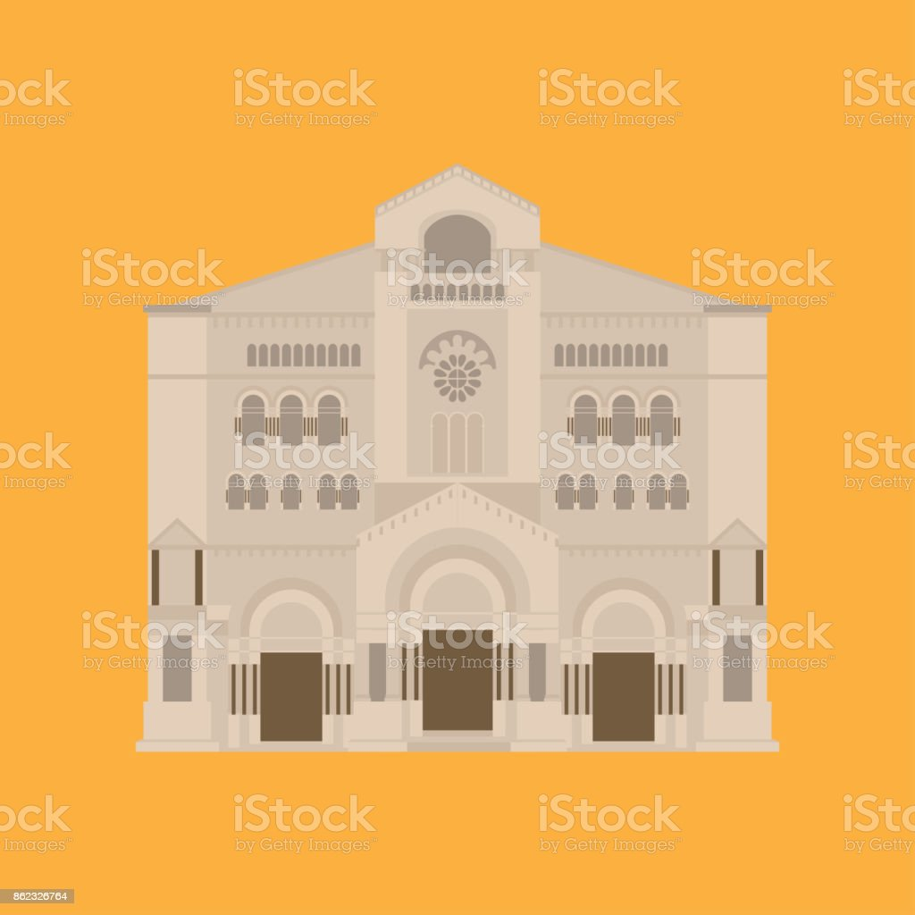 Flat building of Monaco country, travel icon landmark in Monte Carlo. City architecture. World travel vacation sightseeing European. Saint nicholas cathedrale. vector art illustration