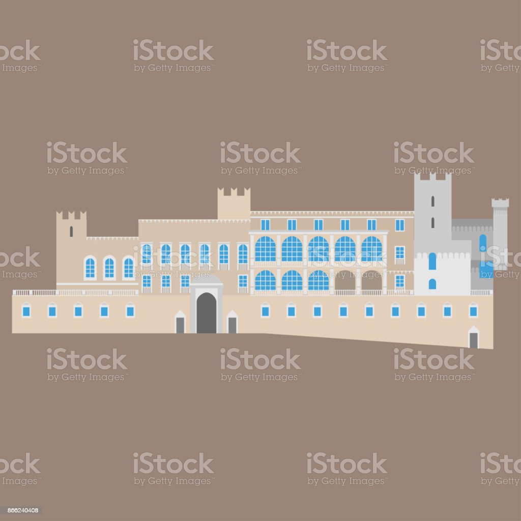 Flat building of Monaco country, travel icon landmark in Monte Carlo. City architecture. World travel vacation sightseeing European. Prince Palace of Monaco. vector art illustration