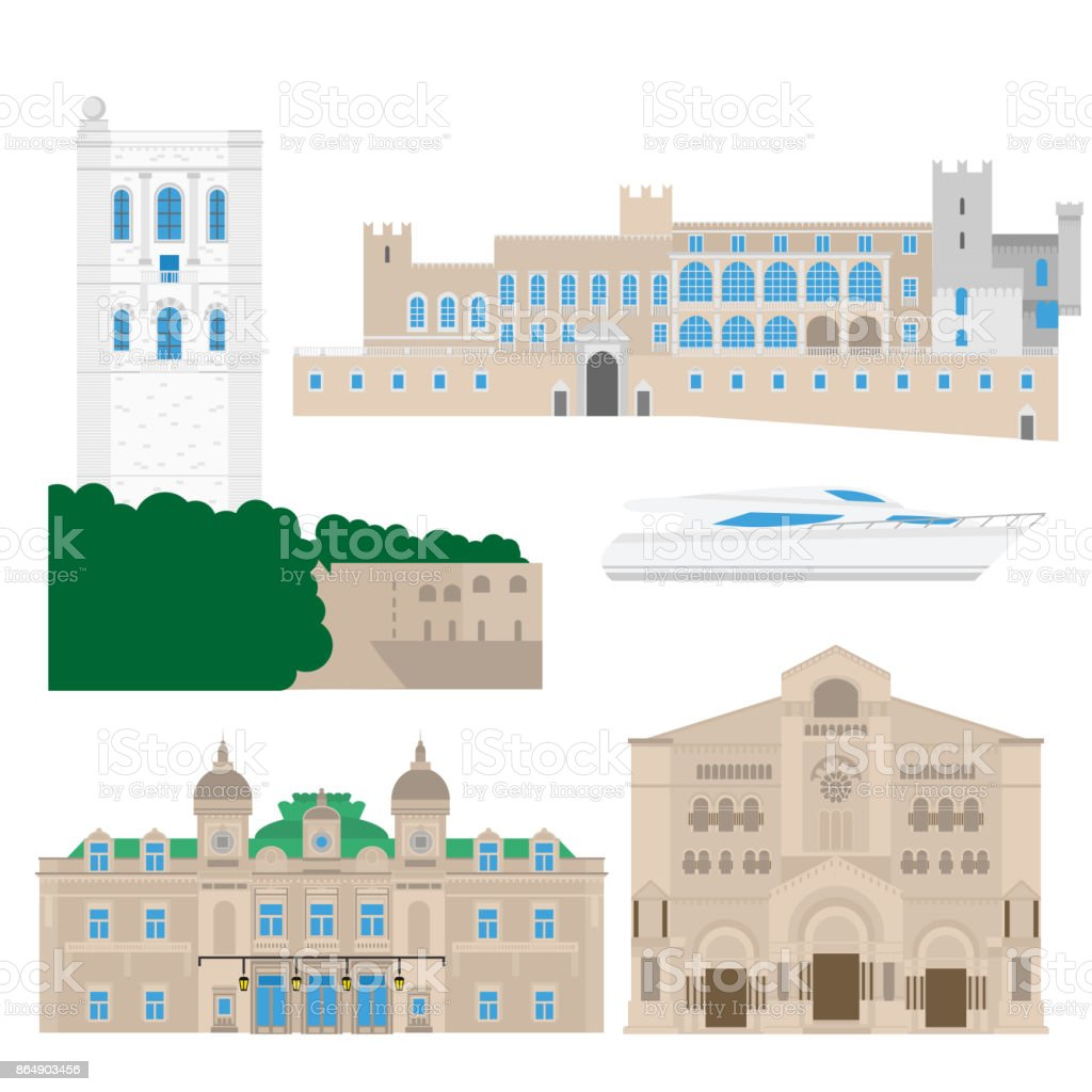 Flat building of Monaco country, travel icon landmarks in Monte Carlo. City architecture. World travel vacation sightseeing European collection. vector art illustration