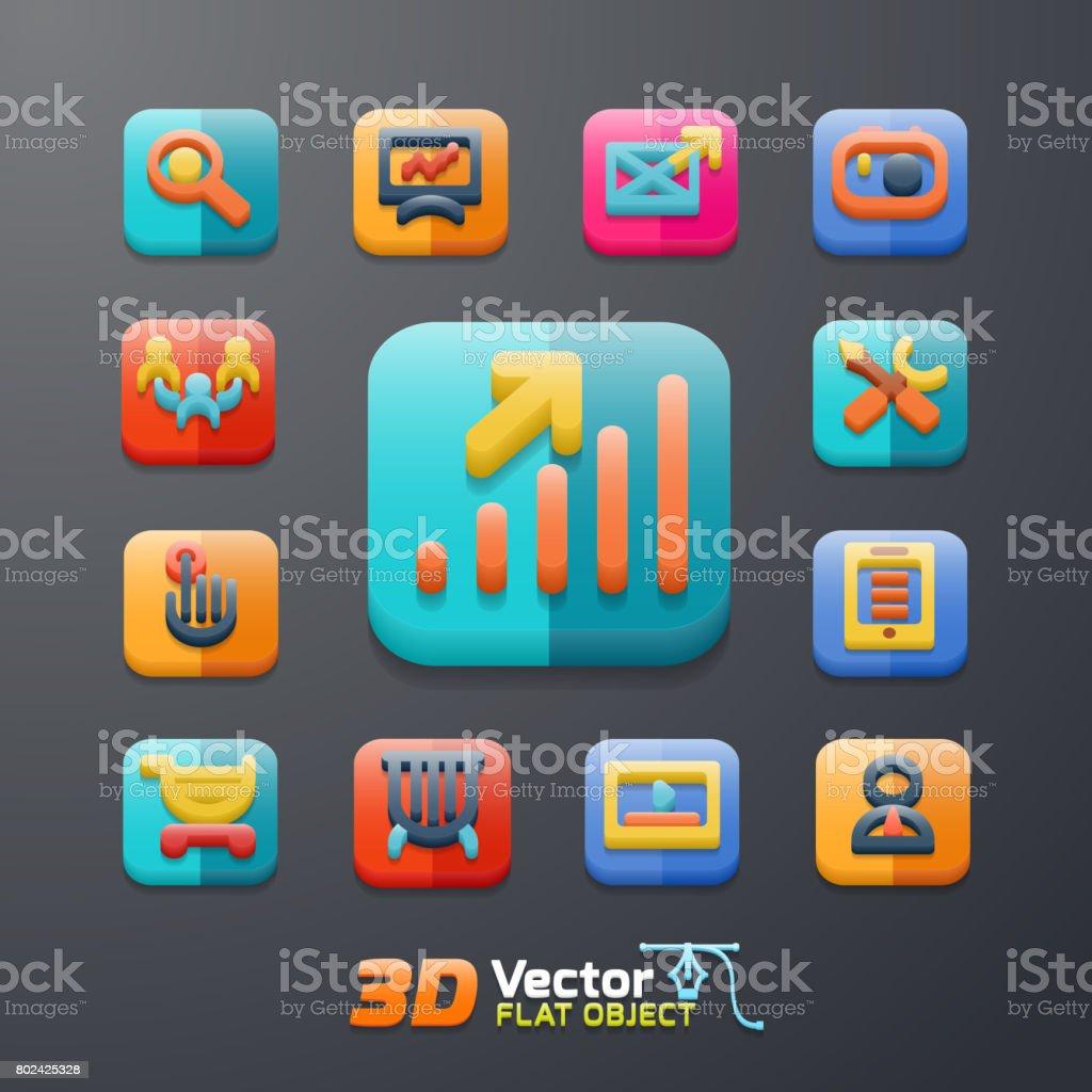 jeu d'icônes 3D affaires plat - Illustration vectorielle