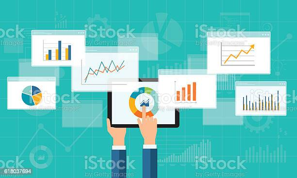 Flat Business Analytics Graph On Mobile Device Stock Illustration - Download Image Now