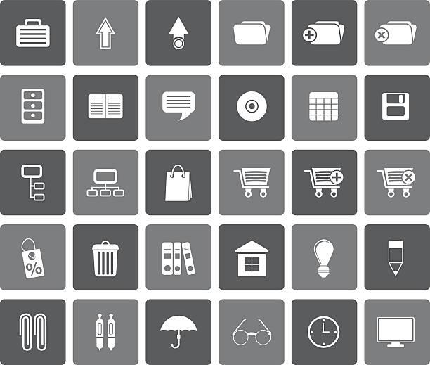 flache business und office-symbole - schrankkorb stock-grafiken, -clipart, -cartoons und -symbole