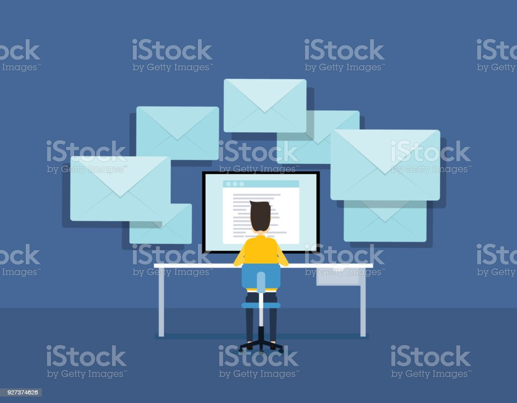 flat business email marketing concept with businessman working on monitor - Royalty-free Analyzing stock vector
