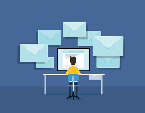 Flat Business Email Marketing Concept With Businessman Working On Monitor Stock Illustration - Download Image Now