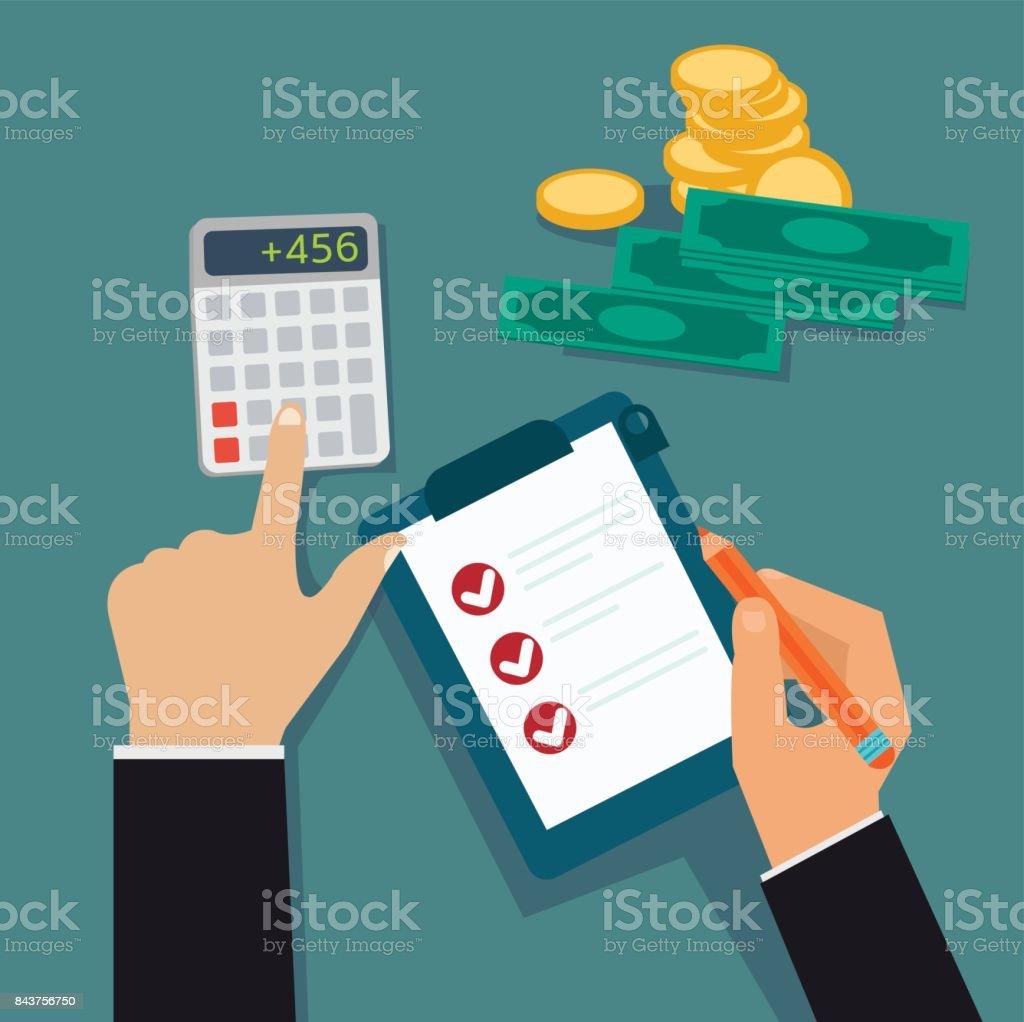 Plat mains entreprise contrôle le Conseil d'administration et coût calculé, bénéfice avec illustration vectorielle de l'argent. Vecteur de notion financière. - Illustration vectorielle
