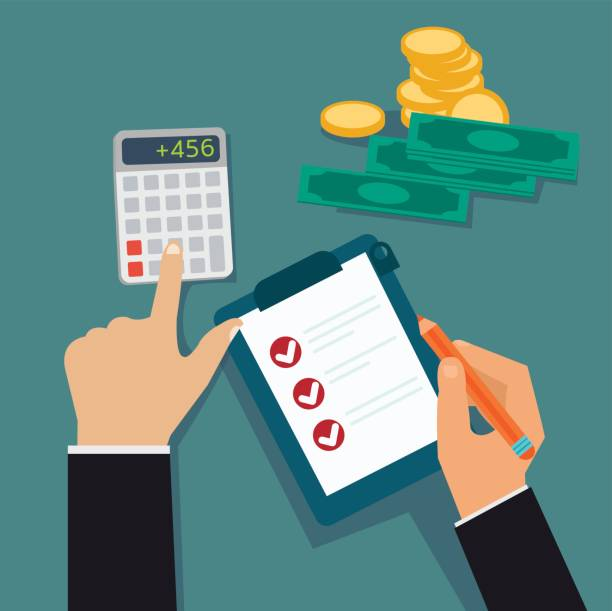 Flat business hands checking board and calculated cost, profit with money vector illustration.Financial concept vector. Flat business hands checking board and calculated cost, profit with money vector illustration.Financial concept vector. counting stock illustrations