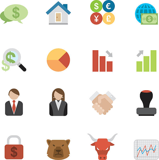 Flat Business & Investment icons | Simpletoon series Simple, flat, cartoon style business & investment icon set for your web page, interactive, presentation, print, and all sorts of design need. taiwanese currency stock illustrations
