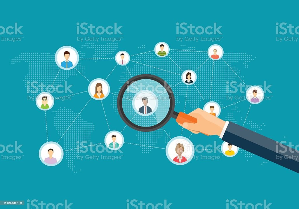 flat business marketing research concept vector art illustration