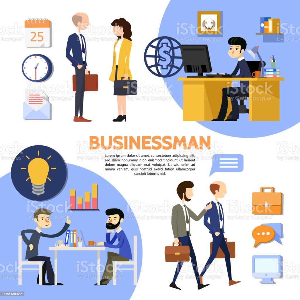Flat Business Office Poster flat business office poster - stockowe grafiki wektorowe i więcej obrazów aktówka royalty-free