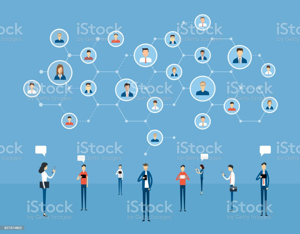 flat business online communication  on  social network connection  and digital marketing online concept - Royalty-free Business stock vector