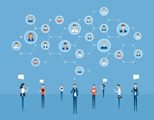 flache Business Online-Kommunikation auf sozialen Netzwerkverbindung und digitalen Online-Marketingkonzept – Vektorgrafik