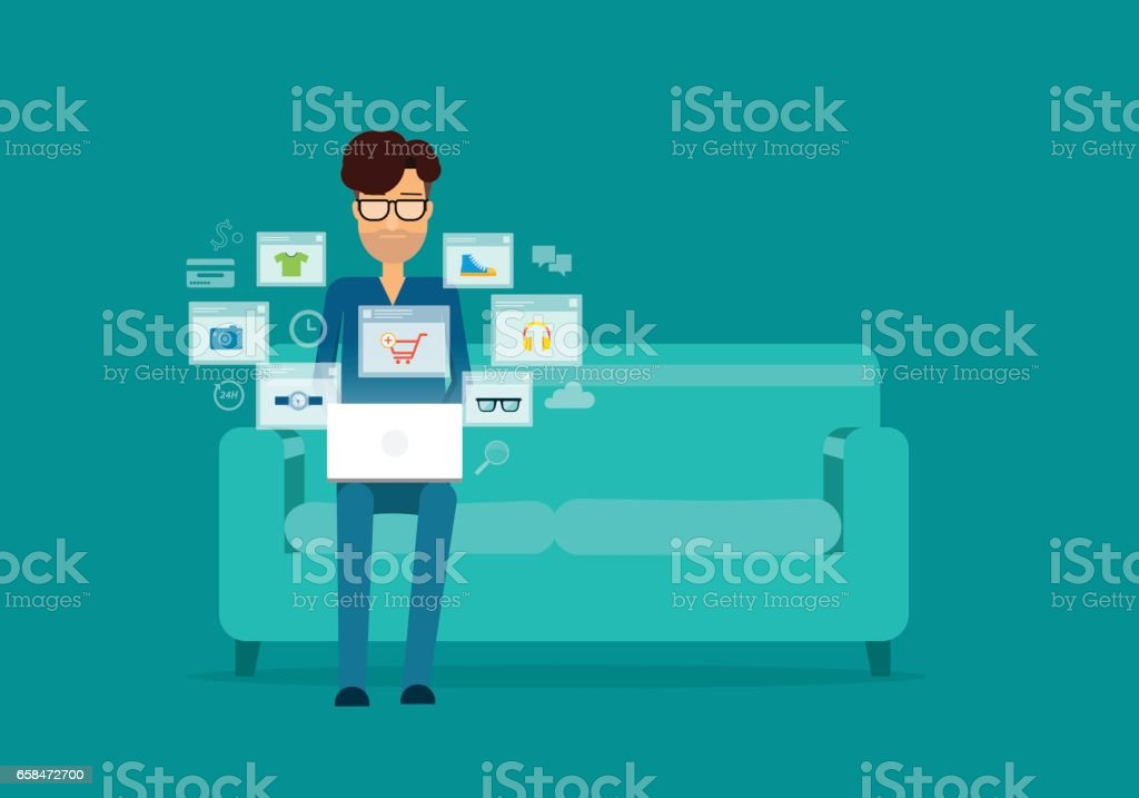 flat business online shopping concept with people working on sofa vector art illustration