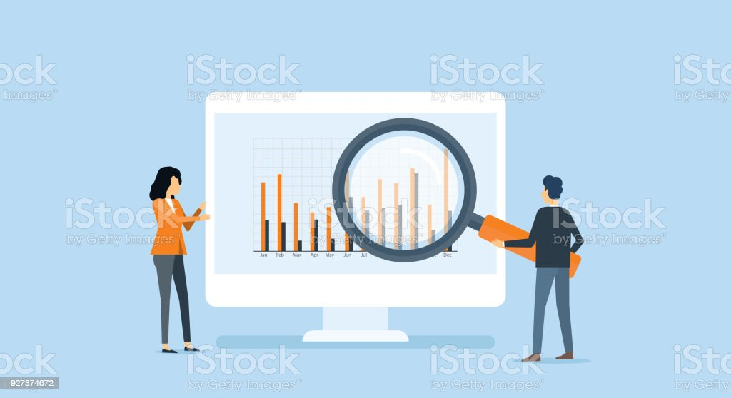 flat business people analytics and monitoring investment and finance