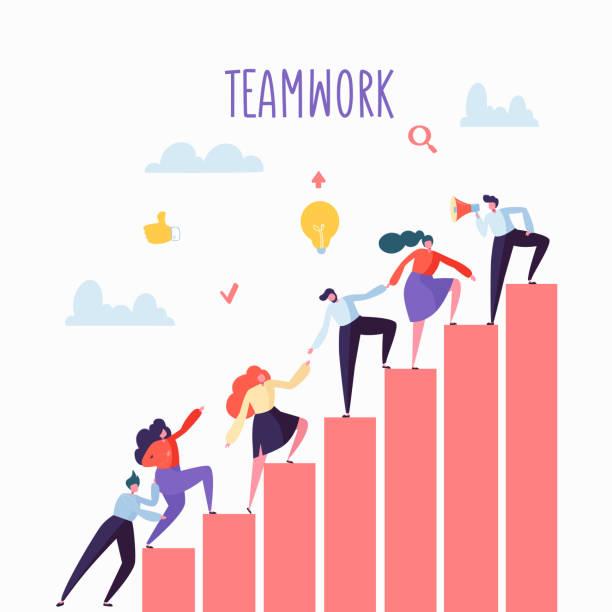 flache geschäft leute klettern die treppe hinauf. karriereleiter mit zeichen. team arbeit, partnerschaft, leadership-konzept. vektor-illustration - treppe stock-grafiken, -clipart, -cartoons und -symbole