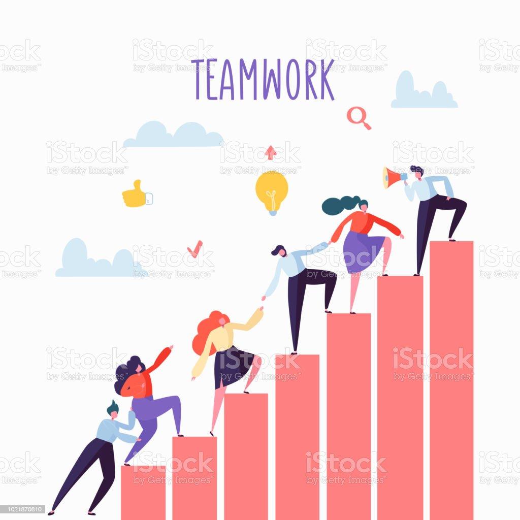 Plat affaires gens grimper les escaliers. Échelons de carrière avec des personnages. L'équipe travail, partenariat, Concept de Leadership. Illustration vectorielle - Illustration vectorielle