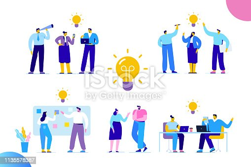 People working together on new Project. Flat Vector illustration. Creativity, Brainstorming, Innovation concept.