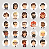 Set of 25 flat business round avatars on white circles. Office people. Clipping paths included.