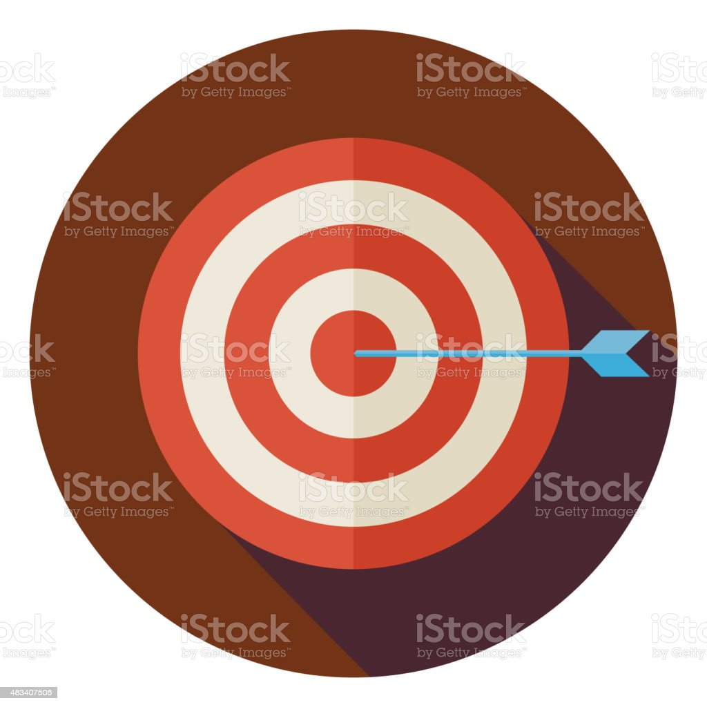 Flat Business Success Target Circle Icon with Long Shadow vector art illustration