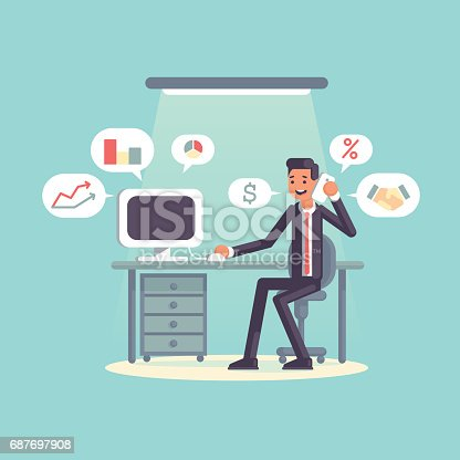 872006502 istock photo Flat businessman and workplace 687697908