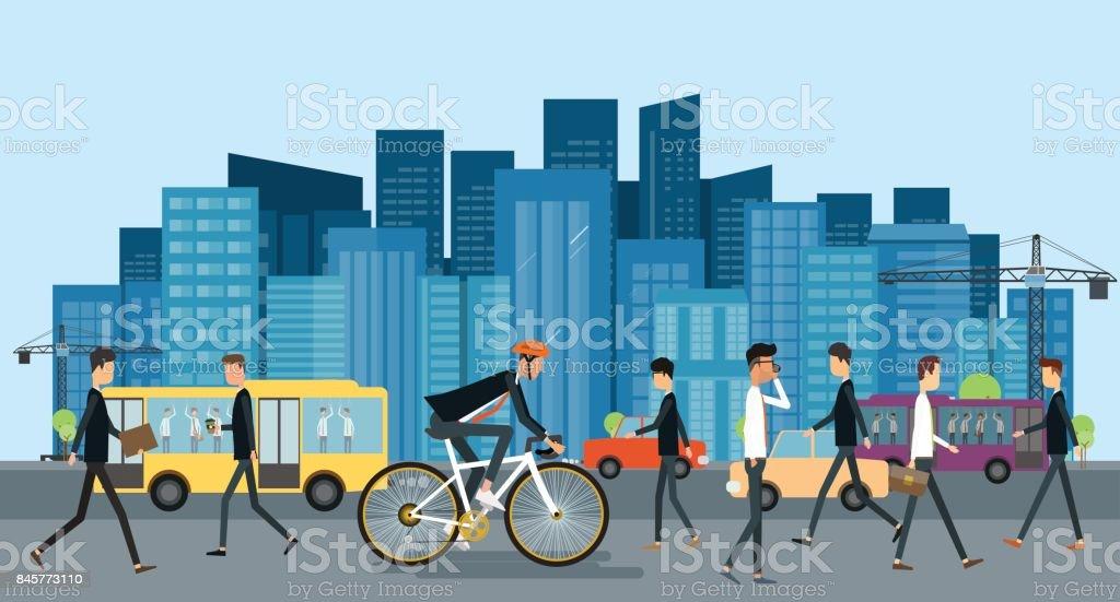 plano empresário ciclismo na estrada ir para trabalhar urbano com pessoas de negócios e conceito de poupança de energia - ilustração de arte em vetor