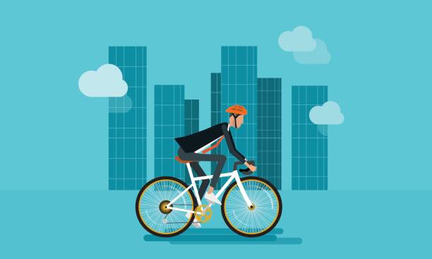 flat businessman character biking go to work in urban and energy saving concept - bike stock illustrations, clip art, cartoons, & icons