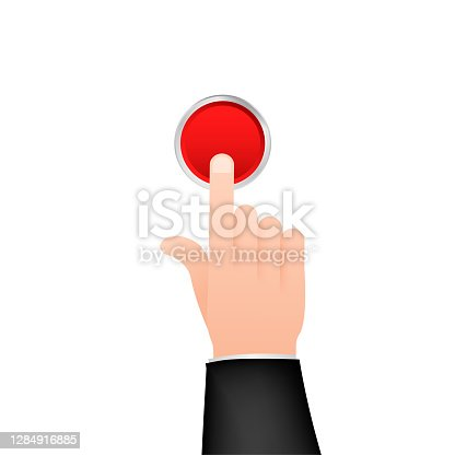 istock Flat button hand for web design. Push touch screen. Click button. Vector stock illustration. 1284916885