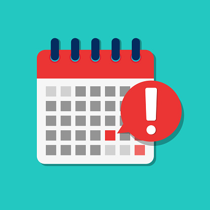 Flat calendar deadline icon. Important schedule date for business meeting. Cartoon reminder urgent agenda on week. Notification on calendar for job, school, holiday. Warning message in plan. vector.