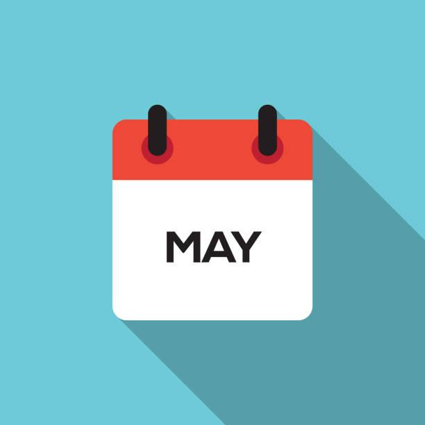 bildbanksillustrationer, clip art samt tecknat material och ikoner med flat calendar design - 2019 - maj