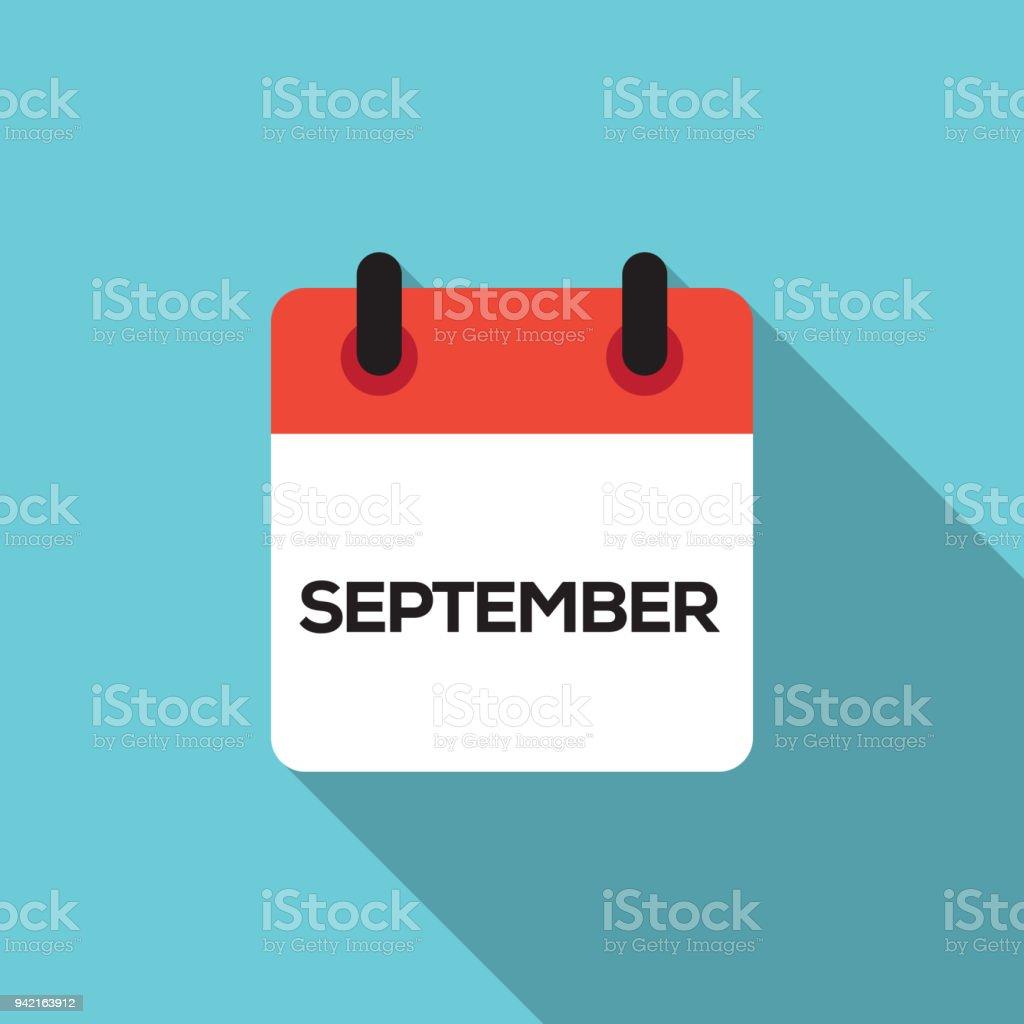 Flat Calendar Design - September vector art illustration