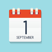 Flat Calendar Icon of 1 September. Vector Illustration