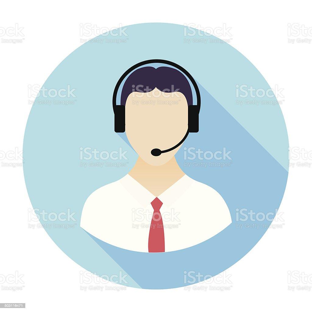 Icono plana centro de atención telefónica - ilustración de arte vectorial