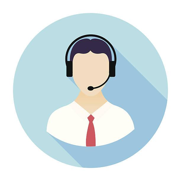 illustrations, cliparts, dessins animés et icônes de plat icône de centre d'appel - centre d'appels