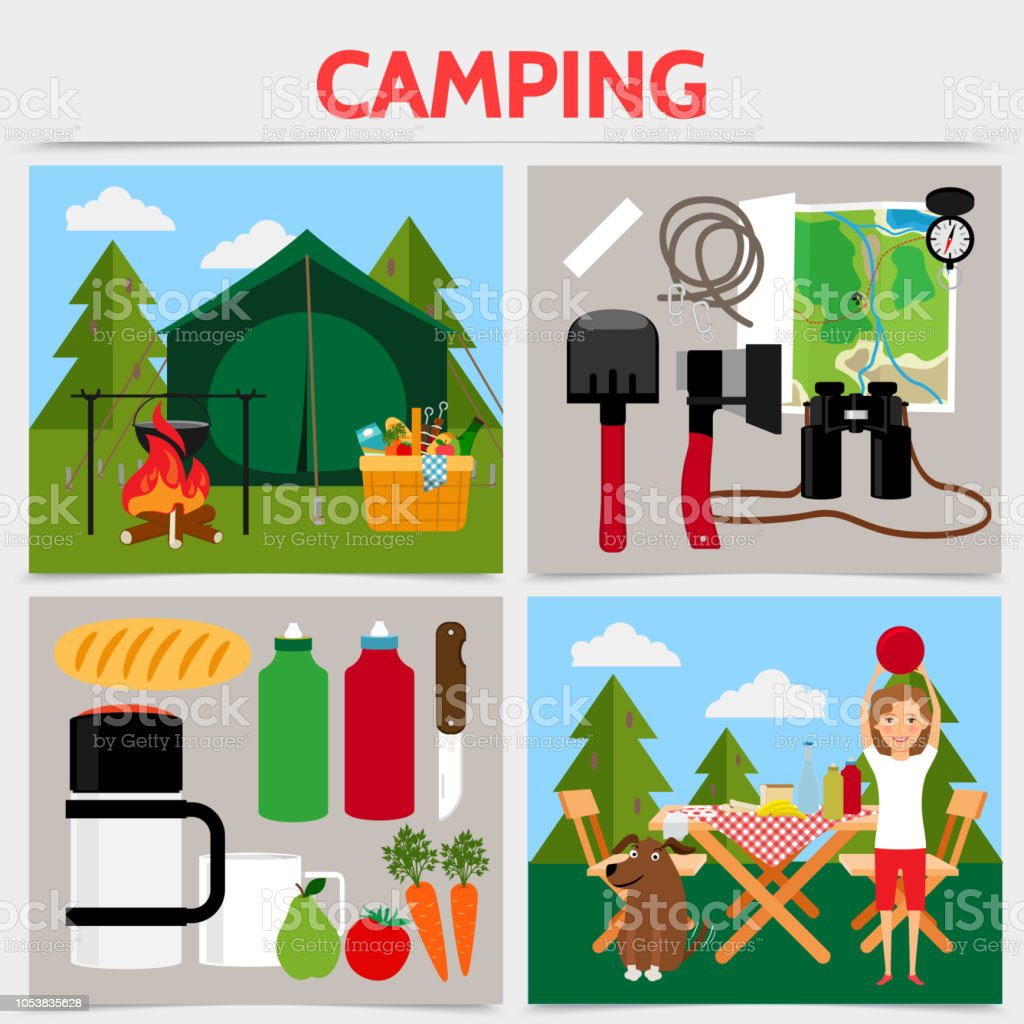 Flat camping square concept with tent bonfire camper dog table chairs...