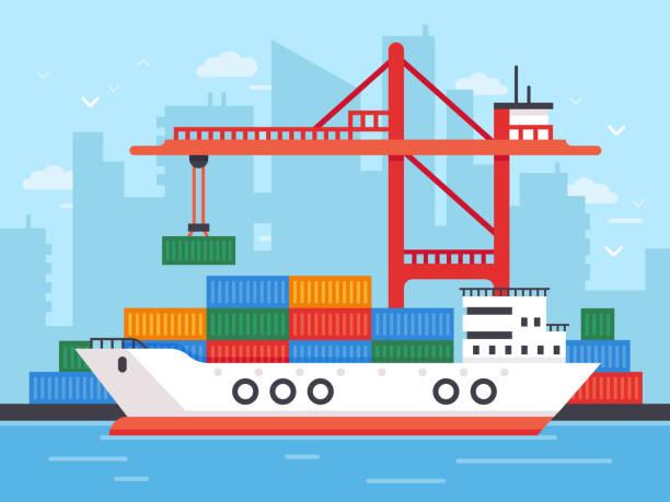 ilustrações de stock, clip art, desenhos animados e ícones de flat cargo ship in docks. harbor crane of shipping port loading containers to marine freight boat vector illustration - porto