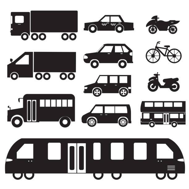 ilustraciones, imágenes clip art, dibujos animados e iconos de stock de vehículos conjunto de iconos plana de fondos. tamplate para web y móvil - suministros escolares
