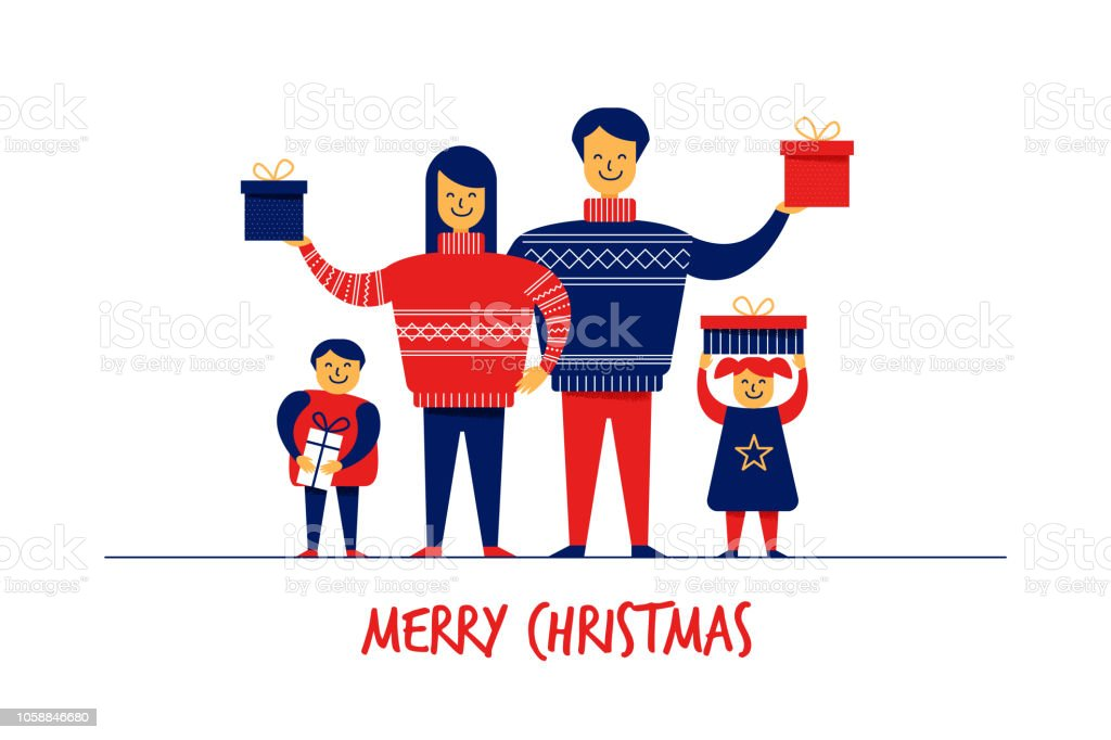 flat cartoon boy girl family characters merry christmas new year greeting card banner concepthappy
