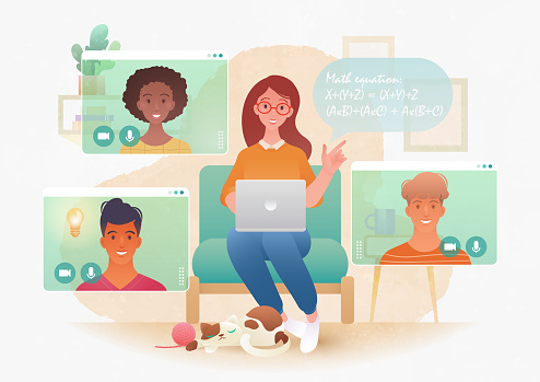 Flat cartoon character of young female teacher teaching her college students via video call app on a laptop computer. Online class meeting. New normal. E-learning concept vector illustration.